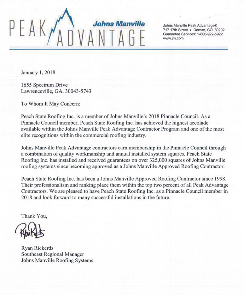 Letter From Johns Manville To Peach State Roofing Inc
